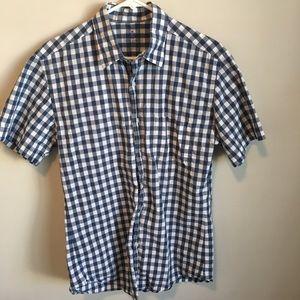 J.Crew Blue Gingham Short Sleeve Shirt Medium